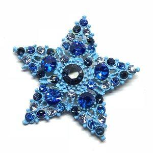 🆕Vintage Blue Enamel & Rhinestone Pin